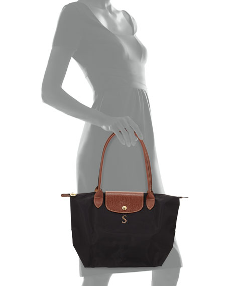 Le Pliage Monogrammed Small Shoulder Tote Bag, Black