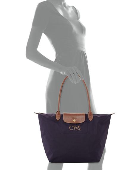 Le Pliage Monogrammed Large Shoulder Tote Bag, Bilberry