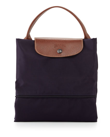 Le Pliage Monogrammed Expandable Travel Bag, Bilberry