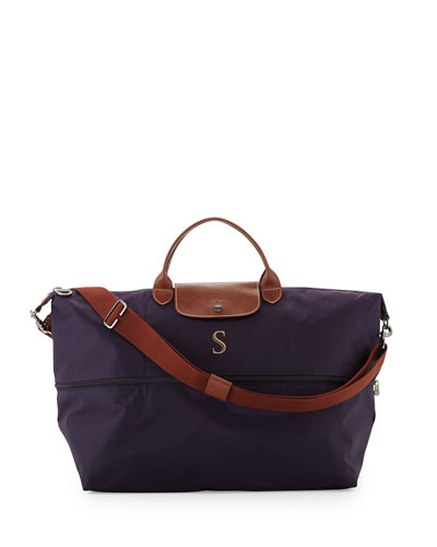 Longchamp Le Pliage Monogrammed Expandable Travel Bag, Bilberry