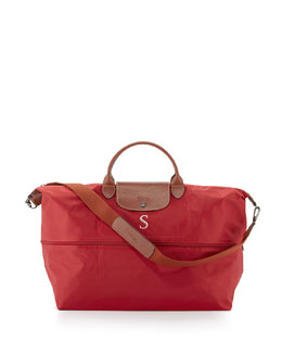 Longchamp Monogrammed Le Pliage Expandable Travel Bag, Red
