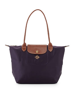 Longchamp Le Pliage Monogrammed Small Shoulder Tote Bag, Bilberry