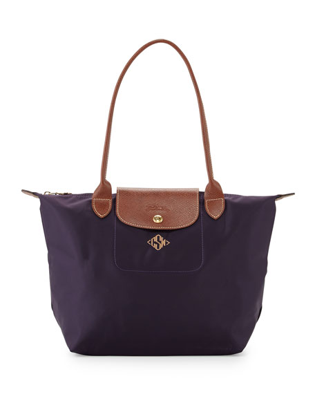 Le Pliage Monogrammed Small Shoulder Tote Bag, Bilberry