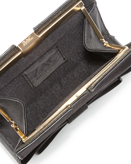 Milla Small Frame Saffiano Bow Clutch Bag, Black