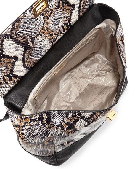 Piper Snake-Print Amazzonia Satchel Bag, Natural