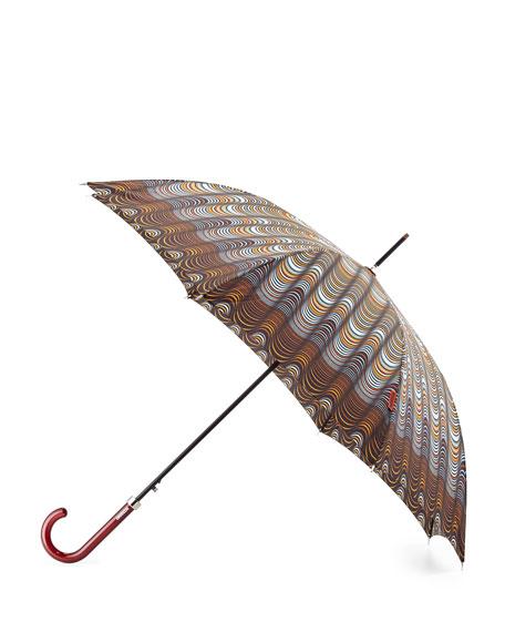 Wave-Print Crook Handle Umbrella, Gray