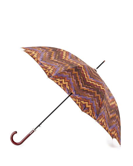 Zigzag Crook Handle Umbrella, Brown