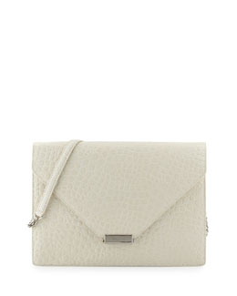 Eric Javits Libby Embossed Flap Bag, Bone