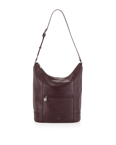 Marcelle Leather Hobo Bag, Plum