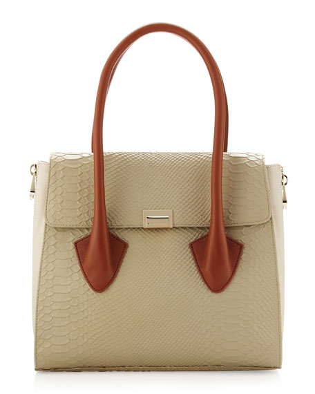 Morandi Washed Crocodile-Embossed Tote, Natural