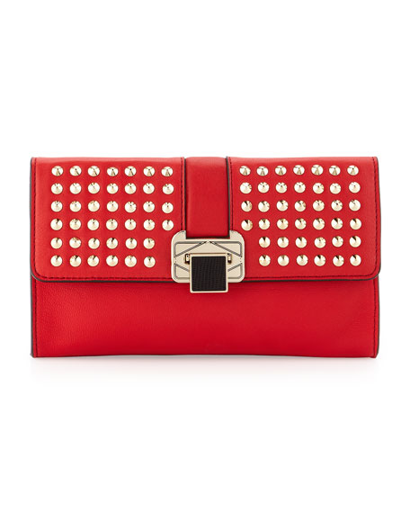 Coco Studded-Flap Clutch Bag, Scarlet
