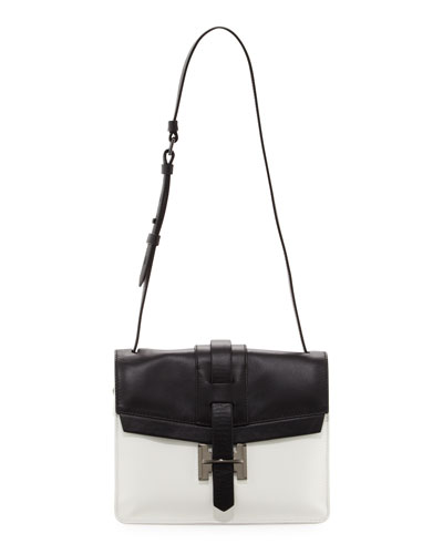 Halston Heritage Colorblock Shoulder Bag, Black/White