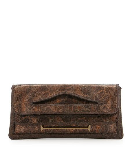 Cutout Handle Fold-Over Clutch, Exotic Bronze Snake Print