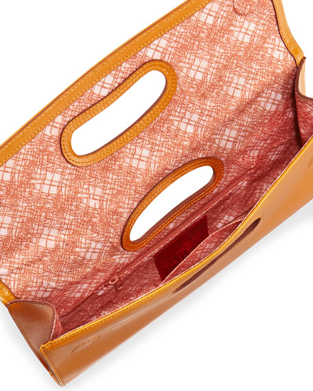 Katrina Cutout Handle Clutch, Amber