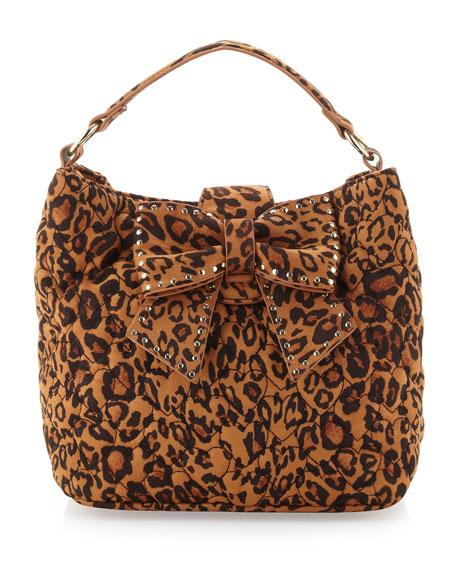 Studded Bow Leopard-Print Satchel