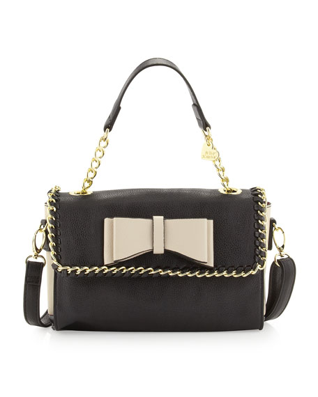Tough Love Pebbled Mini Satchel Bag, Black/Cream