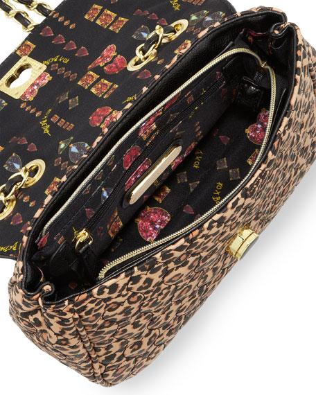 Be My Wonderful Pebbled Quilted Faux-Leather Shoulder Bag, Leopard/Black