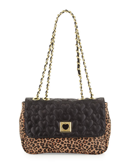 Be My Wonderful Pebbled Quilted Faux-Leather Shoulder Bag, Leopard/Black