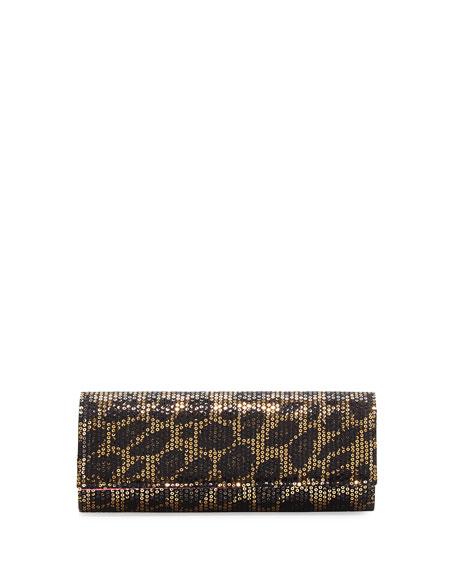 Sequined Leopard-Print Clutch Bag, Gold