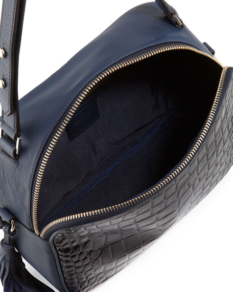 Nora Convertible Embossed Croco & Soft Grained Leather Shoulder/Satchel Bag, Black/Navy