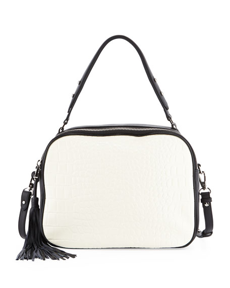 Nora Convertible Embossed Croco & Soft Grained Leather Shoulder/Satchel Bag, White/Black