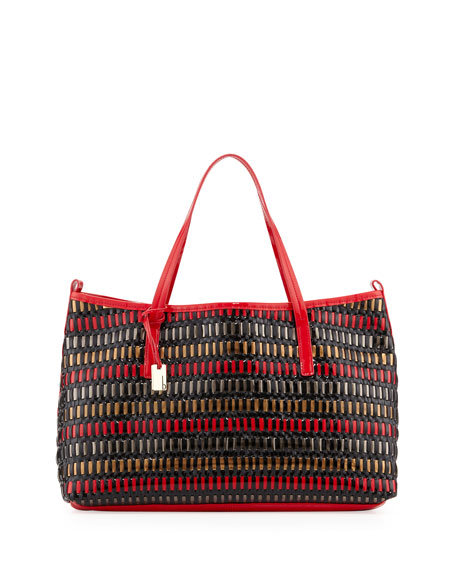 Wanderlust Woven Faux Patent Leather Shopper/Tote Bag, Sunset