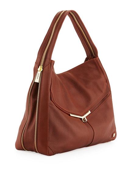 Valentina Pebble Leather Hobo Bag, Brandy