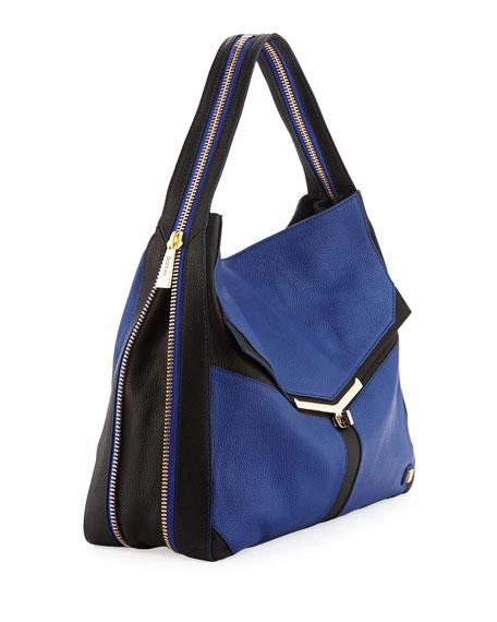 Valentina Colorblock Pebble Leather Hobo Bag, Sapphire