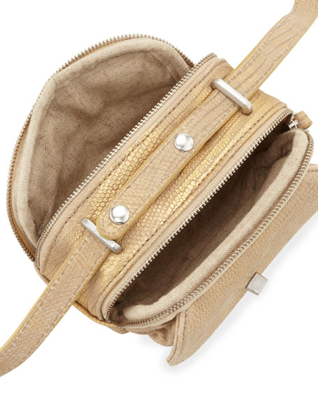 Preface Snake Embossed Distressed Leather Mini Crossbody Bag, Beige Gold