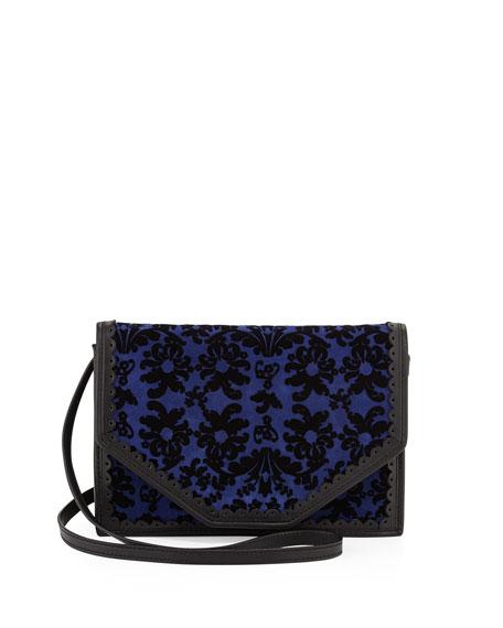 Crossbody Floral Pattern Shoulder Bag, Blue