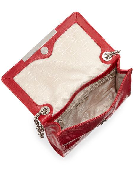 Justine Snake-Embossed Leather Shoulder Bag, Red