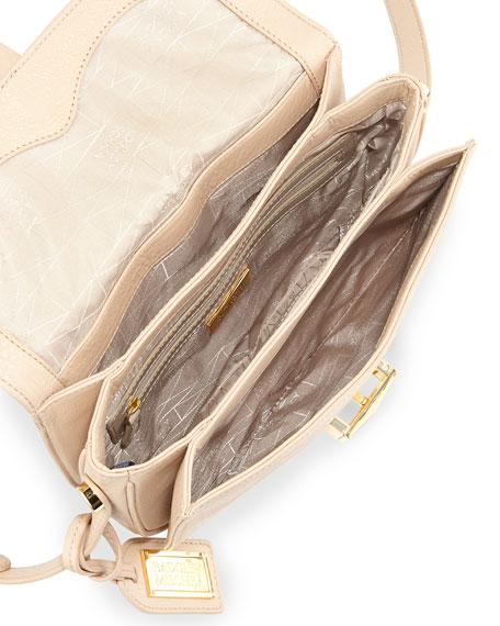Jules Pebbled Leather Crossbody Saddle Bag, Latte