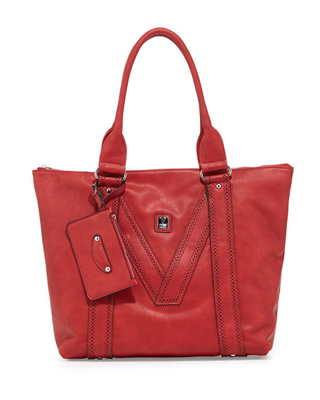 V Perforated-Trim Tote Bag, Red