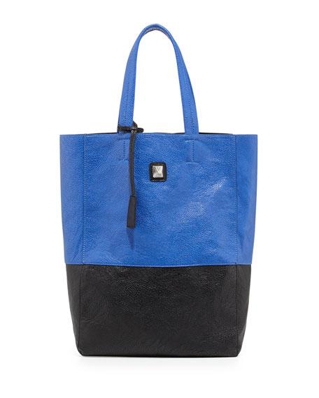 Kami Colorblock Faux Leather Tote Bag, Cobalt/Black