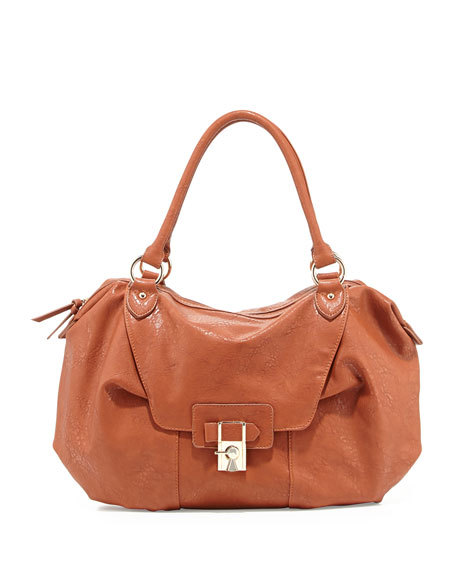 Daniela Turn-Lock Satchel Bag, Cognac