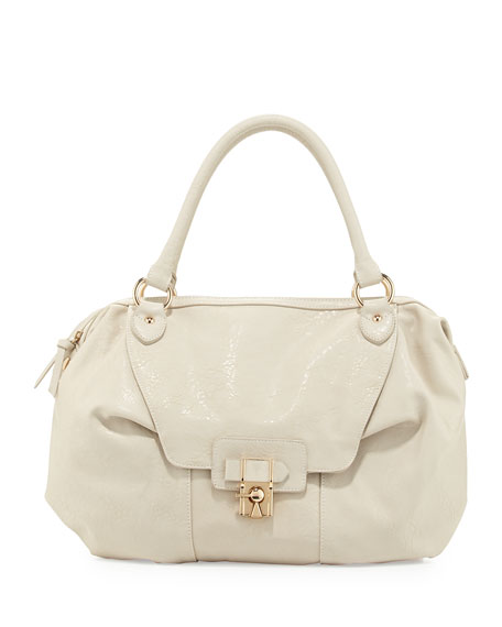 Daniela Turn-Lock Satchel Bag, Bone