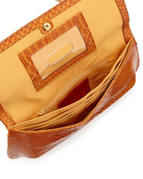 Brigida Snake-Print Leather Snap-Flap Crossbody, Amber Exotic