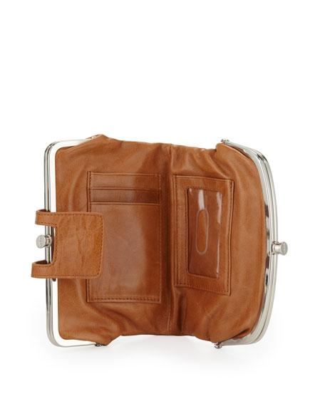 Lisa Sectioned Vintage Leather Wallet, Caramel