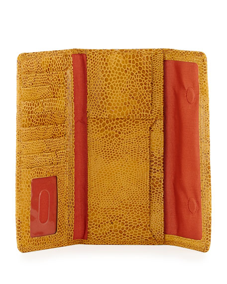 Sadie Snake-Print Magnetic Flap Wallet, Honey Ombre