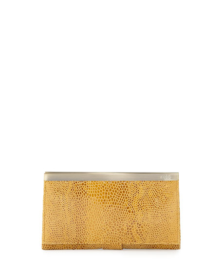 Maxine Metallic Snake-Print Leather Wallet, Iridescent