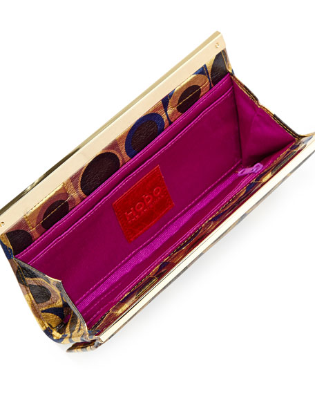Maxine Metallic Geo-Print Leather Wallet, Iridescent