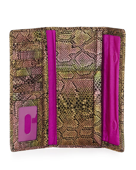 Sadie Metallic Snake-Print Magnetic Flap Wallet, Iridescent