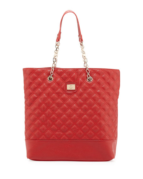 Lucile Quilted Faux Leather Tote Bag, Red