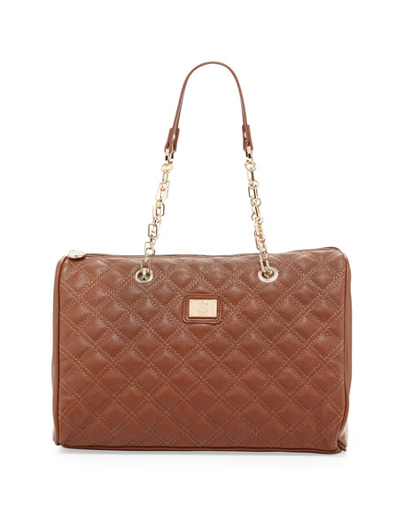 Lucile Quilted Faux Leather Duffel Bag, Brown