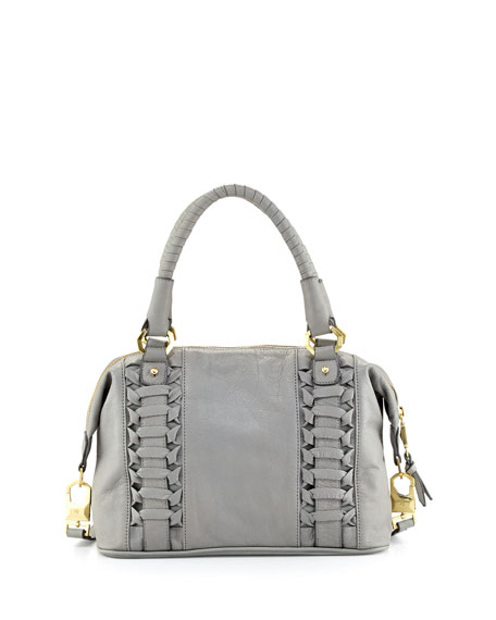 Pebble Leather Woven Satchel, Cement