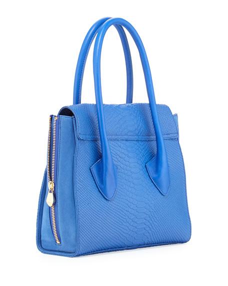 Morandi Washed Snake-Embossed Tote Bag, Cobalt