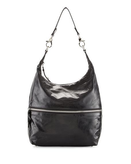 Hobo Jude Glossy Tumbled Leather Hobo Bag, Black