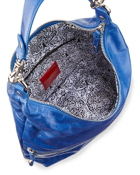 Jude Glossy Tumbled Leather Hobo Bag, True Blue