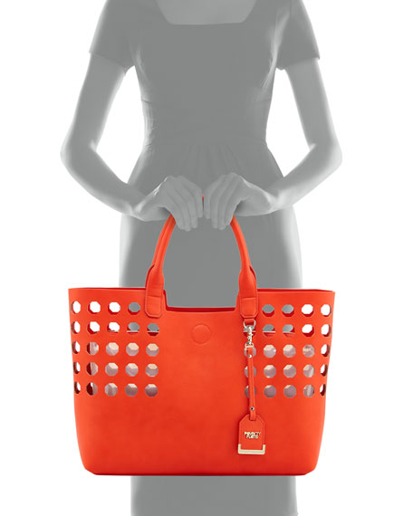 Hexagon Perforated Faux Leather Tote Bag, Orange