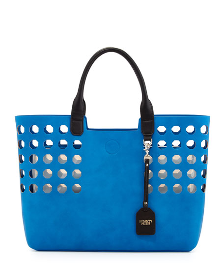 Hexagon Perforated Faux Leather Tote Bag, Cobalt